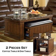 FOWLER - 2pcs Rectangular Cocktail Coffee End Occasional Table Set Living Room