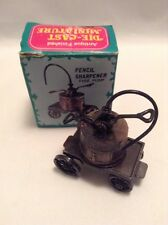 Die-Cast Miniature Fire Pump Antique Finished Metal Pencil Sharpener New In Box