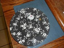 ROYAL STAFFORD BLACK AND WHITE FLORAL ROSES DAMASK SALAD PLATE Made in England