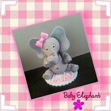 Baby Elephant with bow edible sugar cake topper