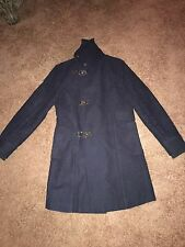 Vtg Zara Man Navy Blue Duffle Long Coat Medium Trench Overcoat Peacoat 38-40