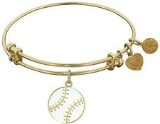 Adjustable Yellow Stipple Finish Brass Enamel Baseball Angelica Bangle Bracelet