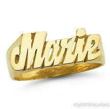 Personalized Name Ring - Unisex Script Style    7mm 14K Yellow Gold