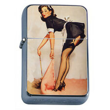 Windproof Refillable Fliptop Oil Lighter Vintage Maid Model Pin Up Girl D63