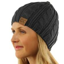 Unisex Winter Ski Soft Stretch Cable Knit Skull Slouch Beanie Hat Cap Charcoal