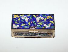 Vintage Chinese Cloisonne Brass Enamel Stamp Box