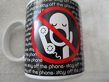 "Vintage Toscany Collection ""Stay Off The Phone"" Black White Red Coffee Cup Mug!"
