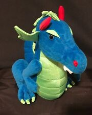 "Mythical Blue Dragon Plush 10"" Stuffed Animal Green Wings Toy"