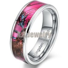 Men Women Tungsten Carbide Maple Camo Pink Forest Image Wedding Band Ring SIZE 7