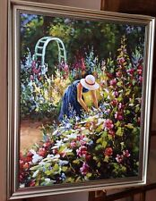 Monet, Lady Picking Flower, Textured Painting, Framed Ready To Hang.