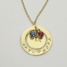 Hand Stamped Personalized Circle Necklace gold plated  925 Sterling Silver