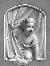 CUTE YOUNG BABY BOY CHILD TODDLER LOOKS OUT WINDOW ~ 1873 Art Print Engraving