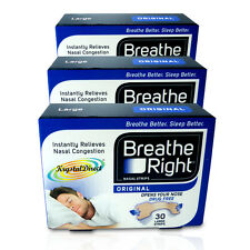 3x Breathe Right Nasal Strips 30 Tan Original Large
