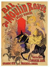 VINTAGE BAL au MOULIN ROUGE FRENCH ADVERTISING A4 POSTER PRINT