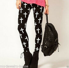New Women Lady Sexy Cross Pattern Soft Stretch Tight Pants Leggings Black