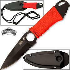 "M4241 Neck Knife 6 7/8"" W/ 2 3/4"" Partially Serrated Drop Point Blade One Piece"