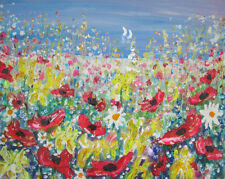 Wild Flower Meadow by the Sea: a large painting on canvas by Jenny Hare