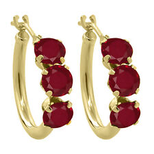 1.80 Ct Round Red Ruby 10K Yellow Gold Hoop Earrings