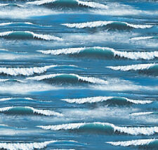 Landscape Medley Ocean Waves Whitecaps Cotton Fabric Print by the Yard D766.39