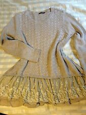 John Fashion MINI Sweater Dress/ Tunic Top MULTI KNIT & LACE Large UNIQUE & EUC