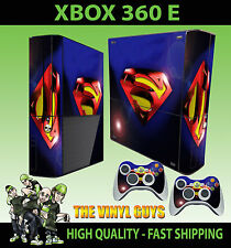 XBOX 360 E SUPERMAN LENS FLAIR STICKER SKIN & 2 X CONTROLLER PAD SKINS