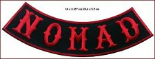 Nomad Biker Bottom /Side Rocker Red on Black  Outlaw Anarchy Biker Patch 10*2.25