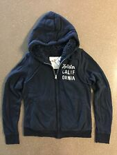 New Hollister Women's Navy Sherpa Zip Up Hoodie Large