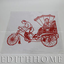 Chinese Folk Art - Paper Cutting - Rickshaw, 28 x 28cm