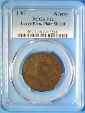1787 Large Planchet Plain Shield New Jersey Colonial Copper One Cent PCGS F12