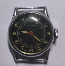 Vintage Men's Cimier Watch Parts/Repair Black Dial Wind Up Silver Red Swiss Made