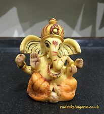 GANESHA GANESH GANPATI NATURAL STATUE MARBLE DUST BEAUTIFUL BLESSED HINDU GOD OM