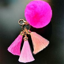 Fashion Imitate Rabbit Fur Ball Tassel Car Keychain Handbag Key Ring Pink 1