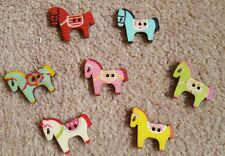 Colourful wooden pony/horse buttons x 10 - new - free postage  - UK seller