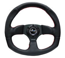 NRG 320mm RACING / SPORT STEERING WHEEL BLACK LEATHER RED STICH & FLAT BOTTOM