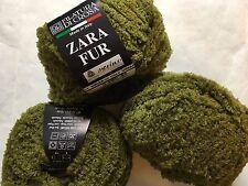 LOT of 3 Filatura di Crosa Zara Fur Yarn #1 Olive Green Merino Short Eyelash