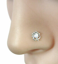 Ethnic Indian Piercing Cork Screw Nose Stud White CZ Sterling Silver Nose Ring