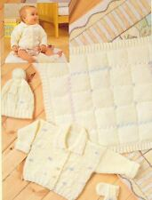 Lovely Set To Knit Newborn Baby Cardigan, Blanket, Hat & Mittens Pattern