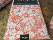 """Laura Ashley-Iris Coral-Vinyl flannel back tablecloth--Coral/White-70"""" round-New"""