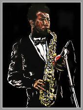 Ornette Coleman Lithografie by Volker Welz signiert Jazzer Blues Sopran Saxophon