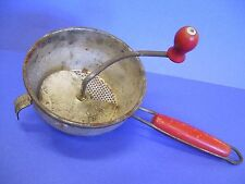 Vintage Foley Food Mill Strainer Masher Red Wooden Handles Ricer Potato Fruit