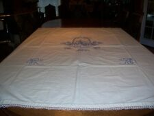 Vintage Embroidered Coverlet/Bed Spread With Matching Runner Blue French Knotts