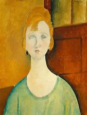 AMEDEO MODIGLIANI ITALIAN GIRL GREEN BLOUSE OLD ART PAINTING POSTER BB4820A