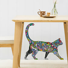 Astratto colore che cammina CAT Animal Wall Sticker Vinyl Trasferimento Murale