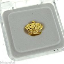 Crown Shape Single Cap Grillz 14k Gold Plated Slug Iced-Out Top Tooth King Teeth