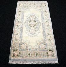 Seidenteppich China Seide 123 x 68 cm Beige Orient Teppich Silk Carpet Rug Tapis