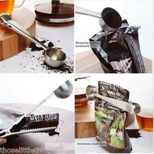 Stainless steel coffee measuring spoon scoop clip 1 cup ground bag seal