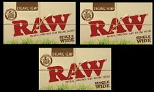 "3 Packs RAW SINGLE WIDE ""ORGANIC HEMP"" Cigarette Rolling Papers 300 leaves total"