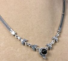 Vintage 925 Sterling Silver Onyx/CZ Ladies Necklace