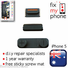 iPhone 5 OEM Black Slate 3 in1 Side Volume Mute Switch Top Power Button Replace