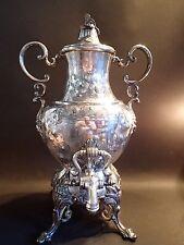 Large Vintage Ornate Silverplate Samovar Hot Water Coffee Pot Urn with Burner